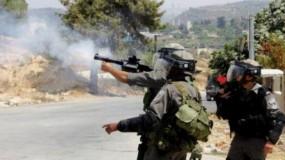قوات الاحتلال تصيب عشرات المواطنين بالرصاص الحي والغاز