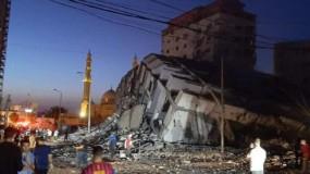 طائرات الاحتلال تدمر برج هنادي غرب مدينة غزة