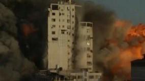جيش الاحتلال يدمر برج الشروق وسط مدينة غزة