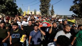 """تشييع جثمان الشهيد """"يوسف محارب"""" في قرية عبوين شمال رام الله"""