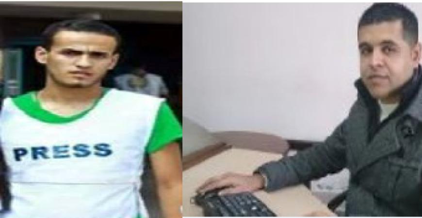 الصورة للصحفيان خالد أبو مغصيب ورمضان أبو سكران
