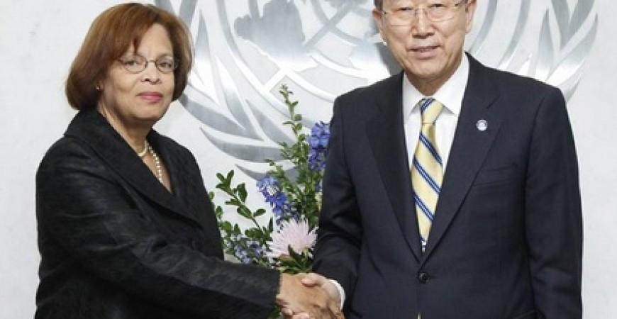 ساندرا أونور إحدى نساء منظمة الأمم المتحدة في منصب الممثل الخاص للأمين العام في هايتي ورئيس بعثة تحقيق الاستقرار في ذلك البلد
